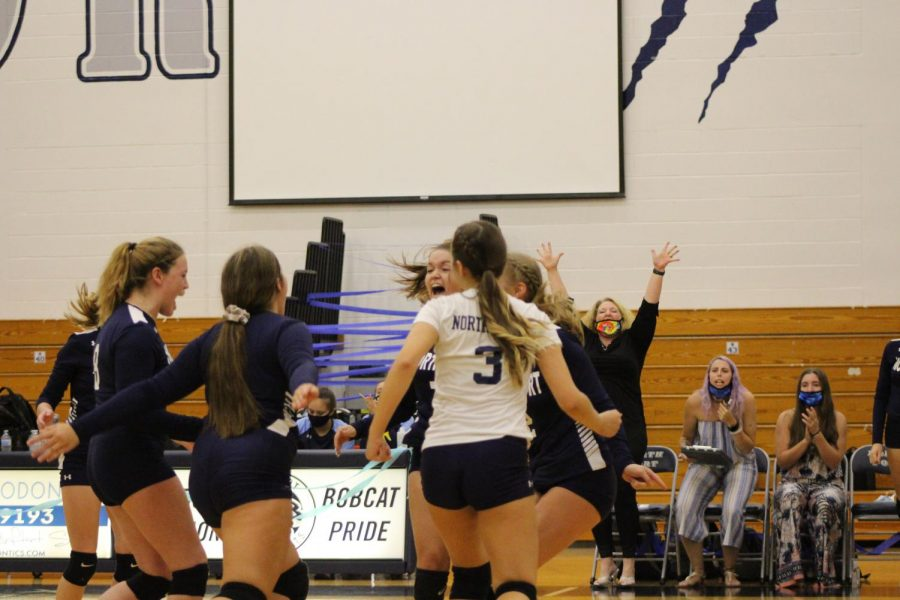 Get Loud! The Bobcats celebrate a score on their senior night, and still maintain a smile even while they are down. The Bobcats later end up losing the game 3-1.