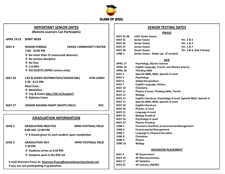 list of senior dates