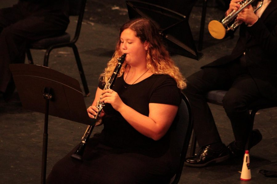 "Hannah ('23) playing the oboe with the Wind ensemble performing ""Selections from The Greatest Showman."""