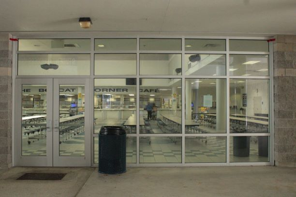 The+NPHS+Cafeteria+doors+shown+during+a+quiet+time.