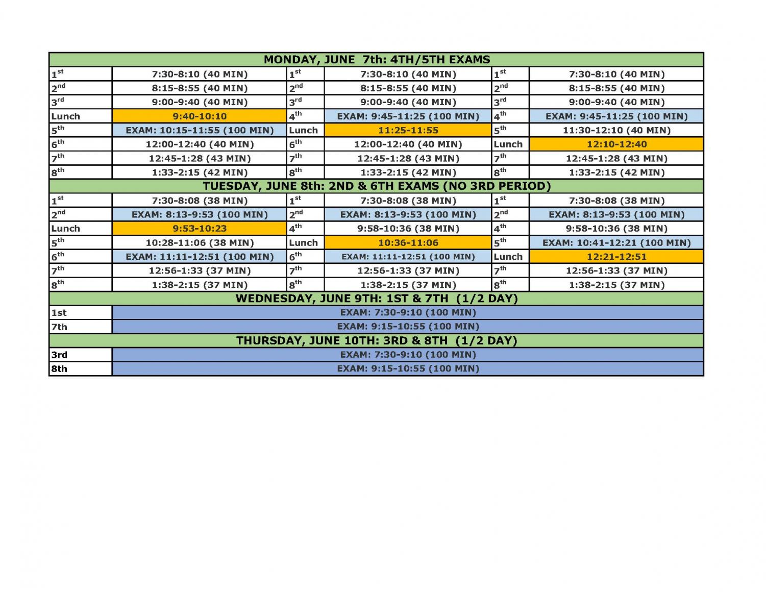 Chart of final exam schedule for 2021.